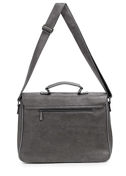 Styleboom Fashion Damen Kunstleder Strukturhandtasche mit viel Stauraum dunkel grau