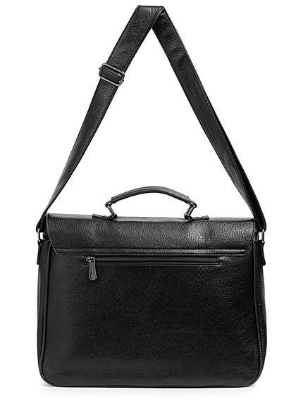Styleboom Fashion Damen Kunstleder Strukturhandtasche mit viel Stauraum schwarz
