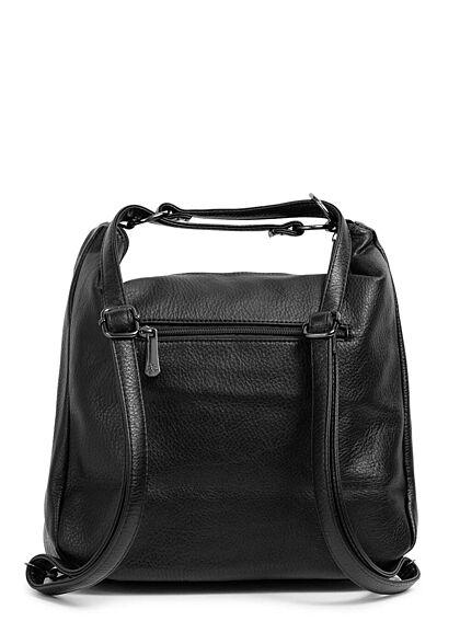 Styleboom Fashion Damen 2in1 Kunstleder Handtasche oder Rucksack schwarz