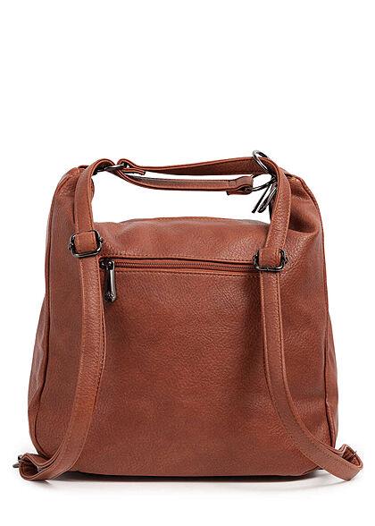 Styleboom Fashion Damen 2in1 Kunstleder Handtasche oder Rucksack braun