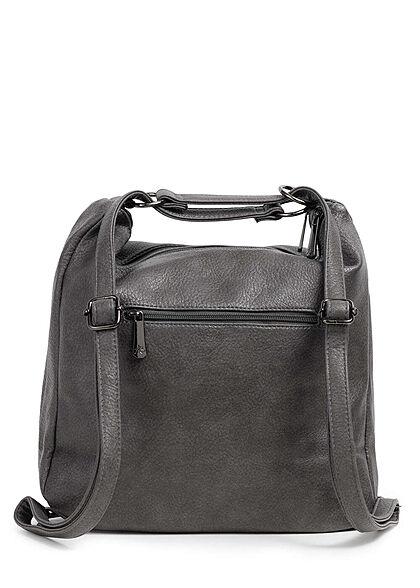 Styleboom Fashion Damen 2in1 Kunstleder Handtasche oder Rucksack dunkel grau