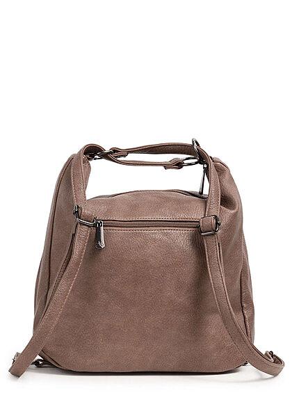 Styleboom Fashion Damen 2in1 Kunstleder Handtasche oder Rucksack mud braun