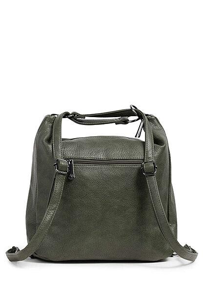 Styleboom Fashion Damen 2in1 Kunstleder Handtasche oder Rucksack grün