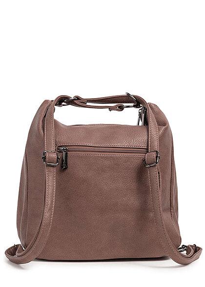 Styleboom Fashion Damen 2in1 Kunstleder Handtasche oder Rucksack rosa braun