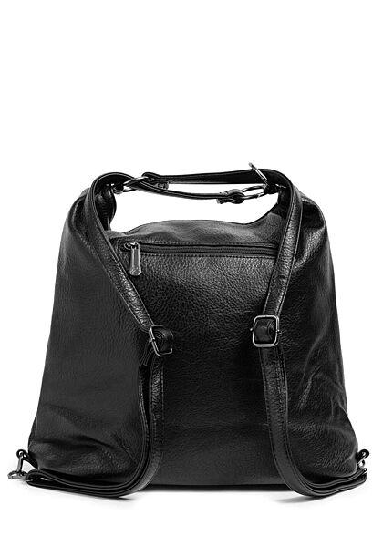 Styleboom Fashion Damen 2in1 Strukturkunstleder Handtasche oder Rucksack schwarz