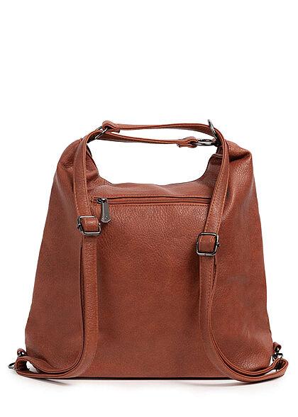 Styleboom Fashion Damen 2in1 Strukturkunstleder Handtasche oder Rucksack braun