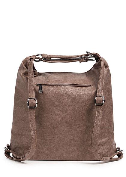Styleboom Fashion Damen 2in1 Strukturkunstleder Handtasche oder Rucksack mud braun