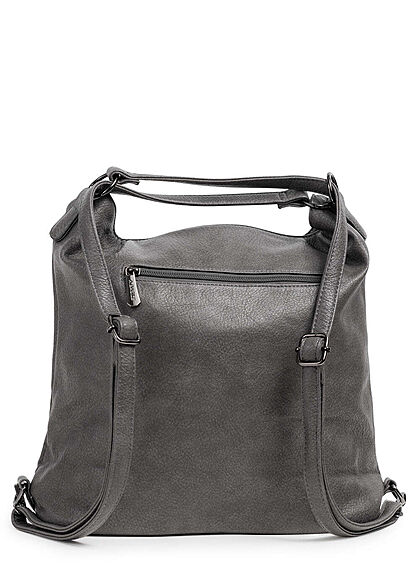 Styleboom Fashion Damen 2in1 Strukturkunstleder Handtasche oder Rucksack dunkel grau