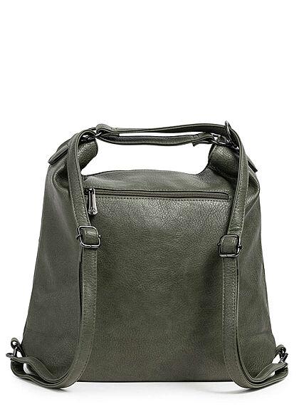 Styleboom Fashion Damen 2in1 Strukturkunstleder Handtasche oder Rucksack grün