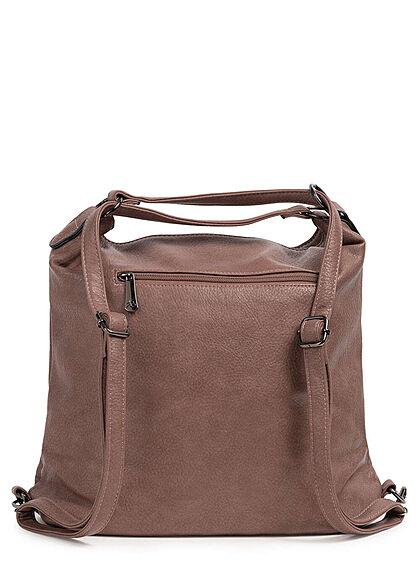 Styleboom Fashion Damen 2in1 Strukturkunstleder Handtasche oder Rucksack rosa braun