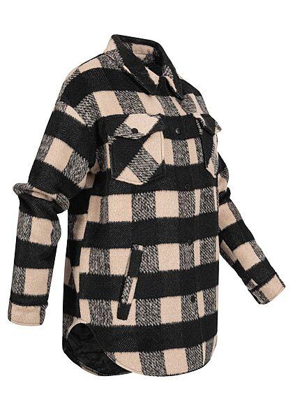 Noisy May Damen NOOS kurze Hemd Shacketjacke 4-pockets Karo Muster nomad beige