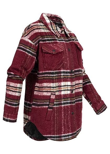 Noisy May Damen NOOS kurze Hemd Shacketjacke 4-pockets Karo Muster rhubarb rot