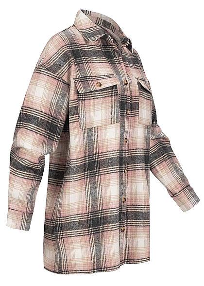 Noisy May Damen NOOS Oversized Longform Hemd Shacket Karo Muster bright weiss rosa