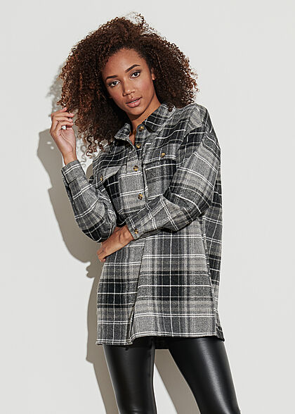 Noisy May Damen NOOS Oversized Longform Hemd Shacket Karo Muster schwarz weiss grau
