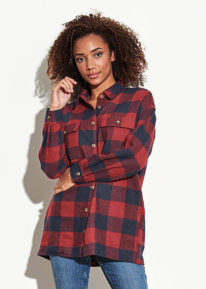 Noisy May Damen NOOS Oversized Longform Hemd Shacket Karo Muster rhubarb rot navy blau