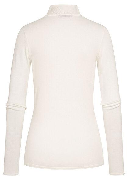 Hailys Damen Rollkragen Pullover aus Feinstrick mit langen Ärmeln cream weiss