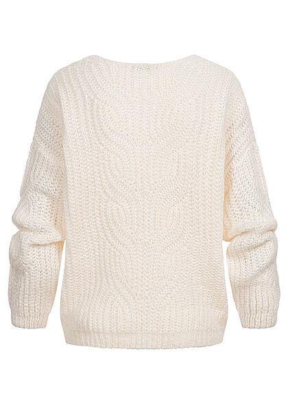 Hailys Damen Pullover Strickpullover mit V-Neck Zopfstrickmuster cream weiss