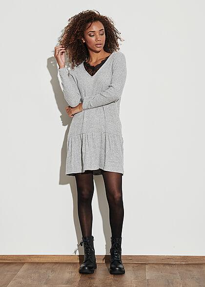Hailys Damen Strickkleid Kleid mit Spitzendetails V-Neck grau