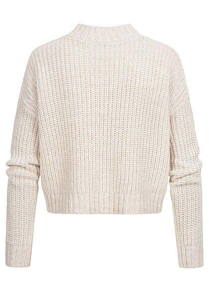 Hailys Damen Strickpullover Pullover mit Rollkragen beige