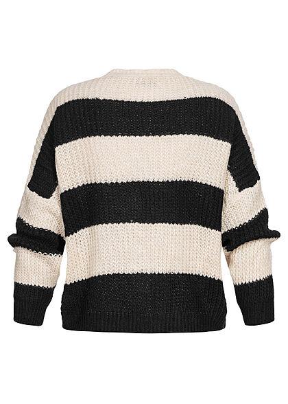 Hailys Damen Cardigan Strickjacke 3er Knopfleiste gestreift schwarz beige