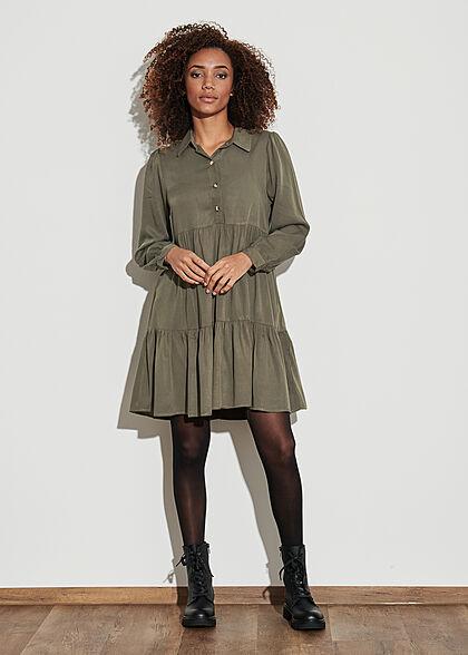 Hailys Damen Kleid langärmlig mit Knopfleiste und Volants khaki dunkel grün