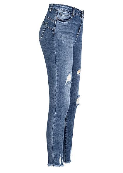 Hailys Damen Jeans Hose mit Fransen destroyed look 5-Pockets mid blau