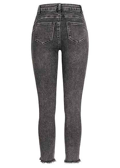 Hailys Damen Jeans Hose mit Fransen destroyed look 5-Pockets dunkel grau