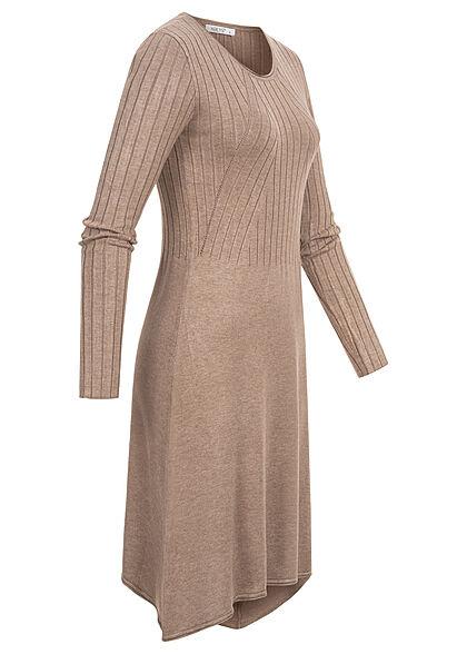 Hailys Damen Kleid Strickkleid mit Rundhalsausschnitt Struktur Muster rosa braun
