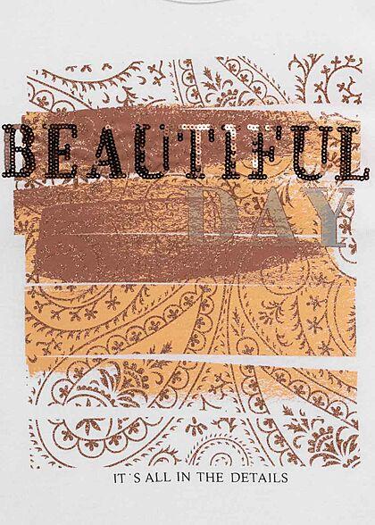 Hailys Damen T-Shirt Top mit Beautiful Print mit Pailletten weiss