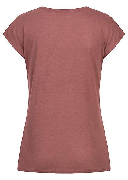 Hailys Damen T-Shirt Top mit Love Print mit Pailletten rose braun