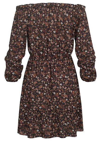 Hailys Damen kurzes Kleid Off-Shoulder Blumen Muster schwarz