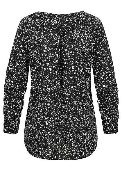 VILA Damen NOOS Langarm Bluse V-Neck Knopfleiste gemustert schwarz weiss