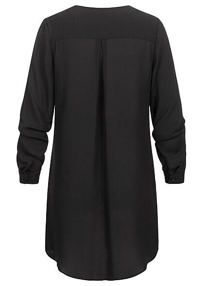 VILA Damen NOOS Langarm Bluse V-Neck Vokuhila schwarz