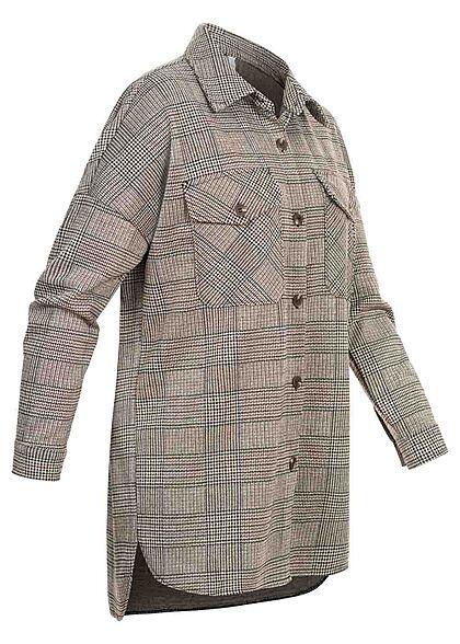 Hailys Damen Bluse Langarm 2 große Brusttaschen Karo Muster braun