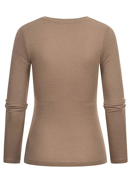 Hailys Damen Sweater Langarm Shirt mit Knöpfen Ribbed Optik taupe braun