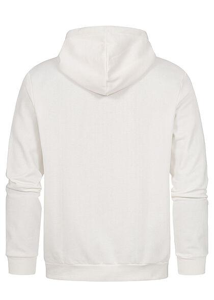 Hailys Herren Sweat Hoodie mit Kapuze Kängurutasche Logo Print auf Ärmel off weiss