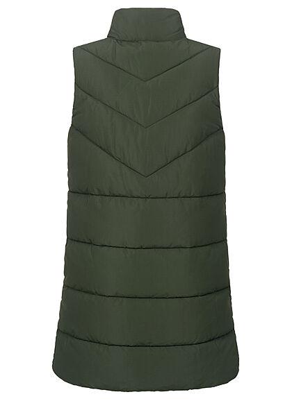 Noisy May Damen NOOS  High- Neck Longform Steppweste 2-Pockets rosin grün