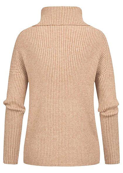 ONLY Damen Rollkragen Pullover Sweater Strukturstoff Vokuhila toasted coconut beige
