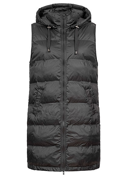 VILA Damen NOOS Weste abnehmbare Kapuze 2-Pockets Zipper schwarz