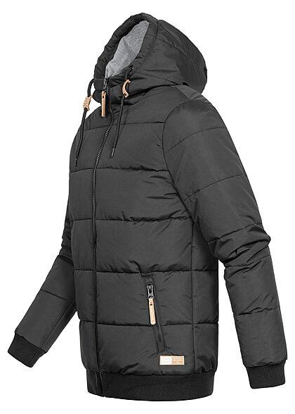 Eight2Nine Herren Winter Jacke mit Kapuze 2-Zip-Pockets schwarz