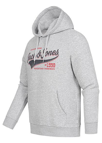 Jack and Jones Herren NOOS Sweat Hoodie Logo Print Kapuze Kängurutasche hell grau