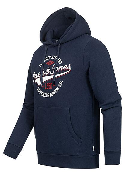 Jack and Jones Herren NOOS Sweat Hoodie Logo Print Kapuze Kängurutasche navy blau