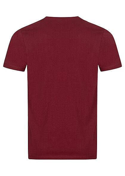 Tom Tailor Herren T-Shirt mit Logo Print bordeaux rot