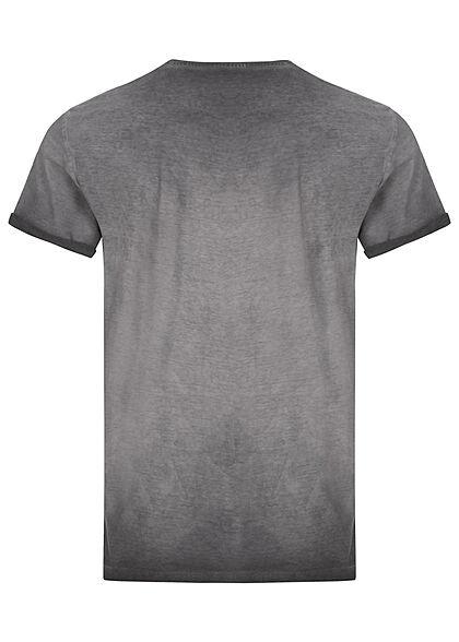Tom Tailor Herren T-Shirt mit Logo Print asphalt grau
