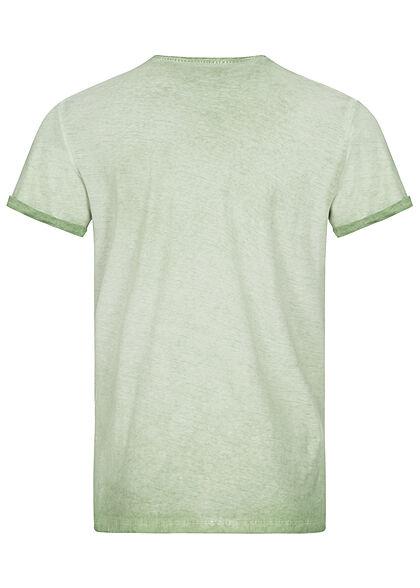 Tom Tailor Herren T-Shirt mit Logo Print hell mint grün