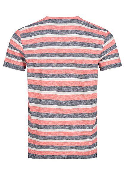 Tom Tailor Herren T-Shirt mit Streifen multicolor rot blau