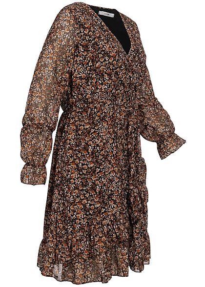 Hailys Damen kurzes Kleid langärmlig Blumen Print multicolor schwarz