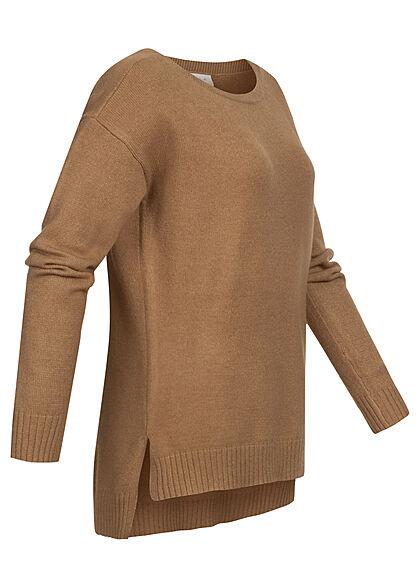 VILA Damen NOOS weicher Strickpullover Sweater Vokuhila tigers eye braun