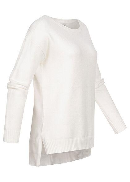 VILA Damen NOOS weicher Strickpullover Sweater Vokuhila alyssum weiss