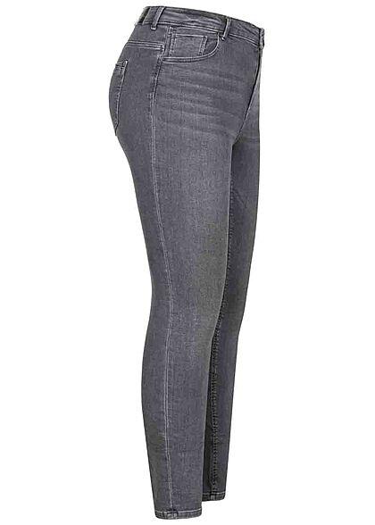 ONLY Carmakoma Damen High-Waist Curvy Skinny Jeans 5-Pockets grau denim